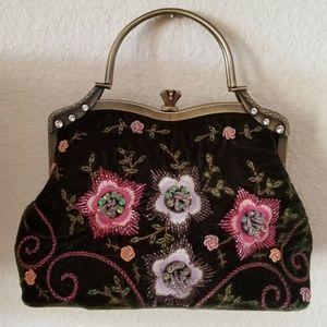 Vendula London  Bag Embroidery Beads Green Velvet